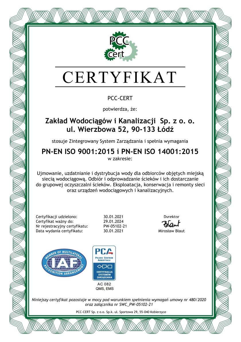 Certyfikat systemu zarządzania jakością i zarządzania środowiskowego ZWiK