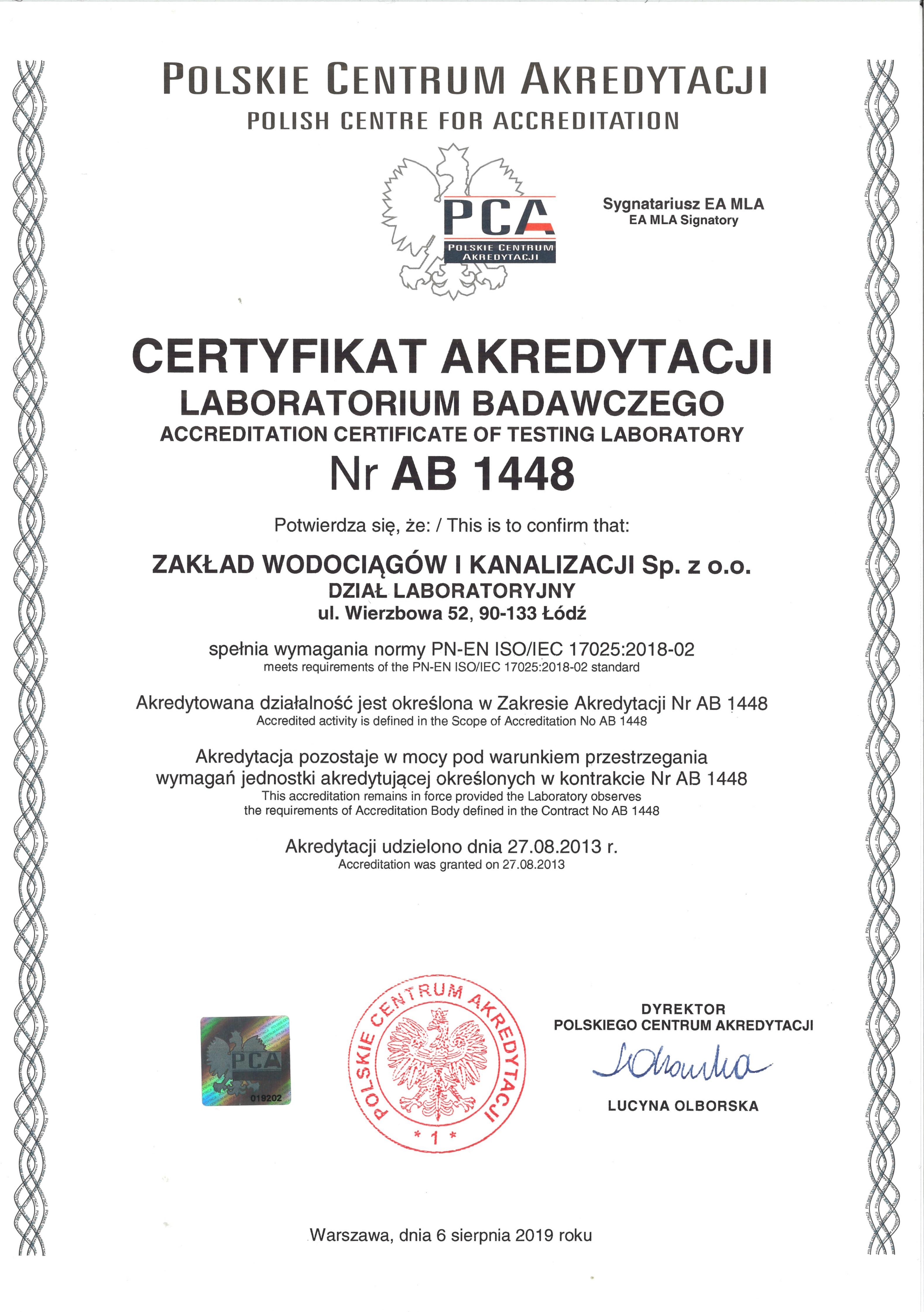 Certyfikat akredytacji laboratoriów ZWiK
